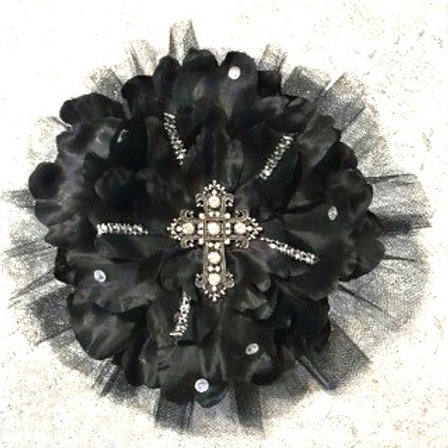 Large Black with cross and petal bling