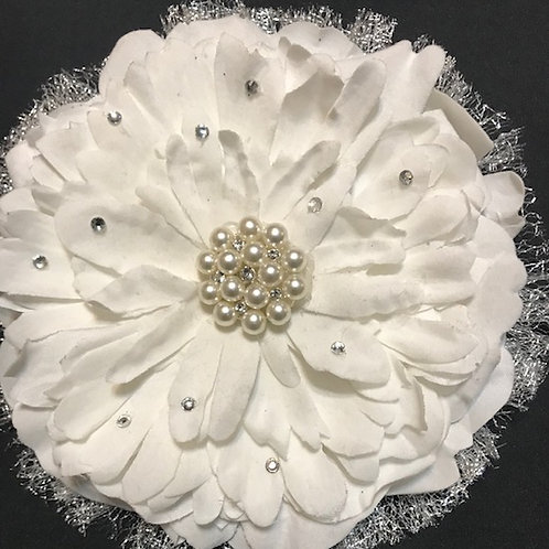 Medium white with pearl center and bling