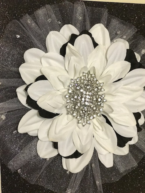Large White & Black Flower with Rhinestone Center