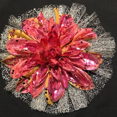 Large hot pink with petal bling