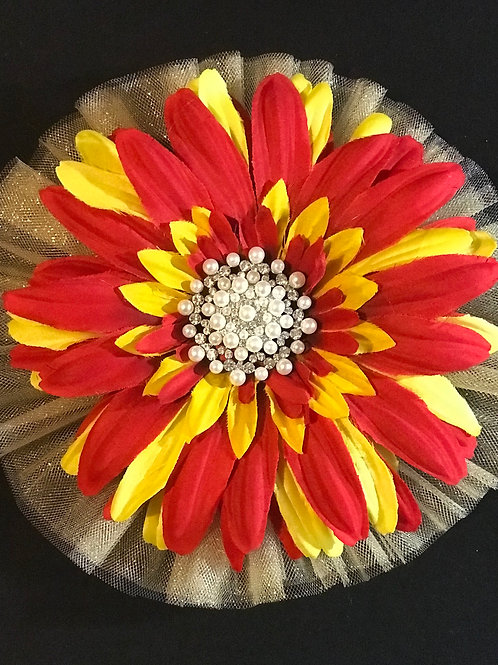 Large Fiery Lapel Flower with pearls center