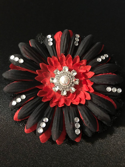 Medium Red and Black with Rhinestone Center and Petal Bling