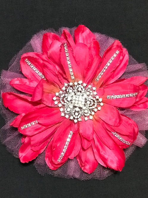Medium Pink with rhinestone center and line bling