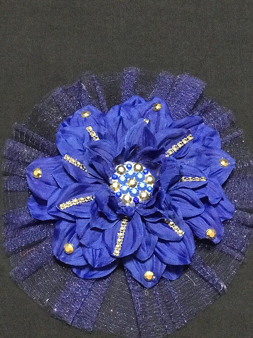 Large blue with blue center and gold petal bling