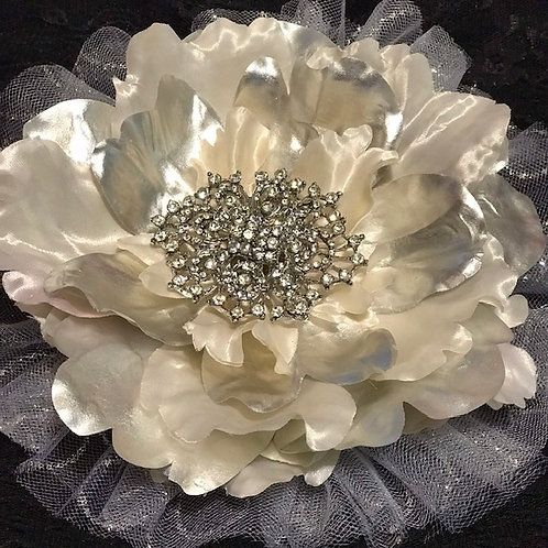 Large Silver Shine flower with Rhinestones center