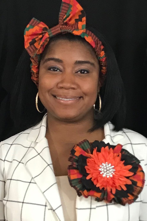 Maya Angelou lapel flower and headband set