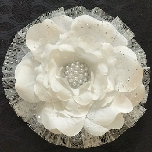 XLarge White Lapel Flower with pearl center