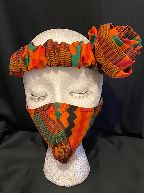 The Kente Headband with Mask Set