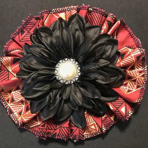 Medium Rustic Brown fabric,  black flower with pearl center
