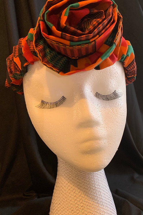 The Kente Headband with Rose