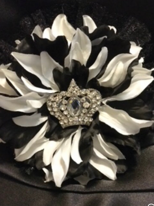 Large Black & White flower with crown center