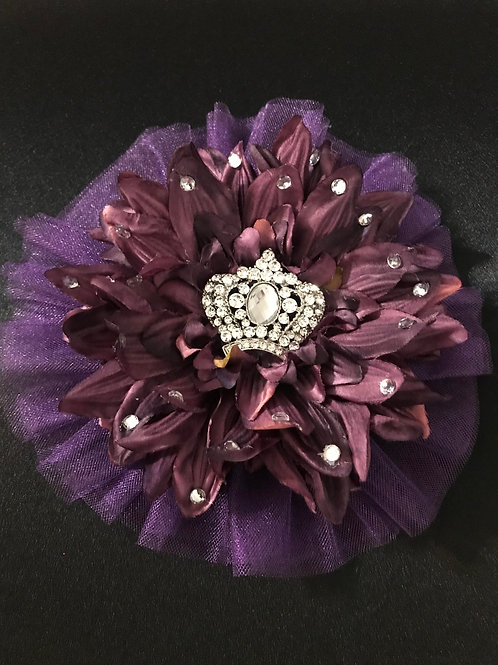 Large Purple with Crown Center and Petal Bling