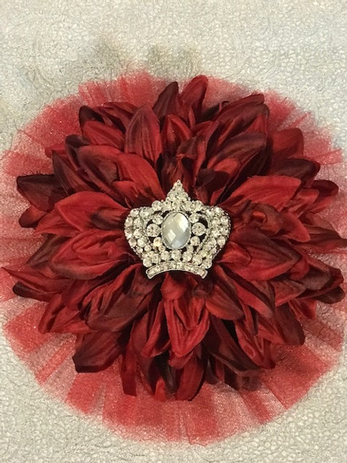 Large red flower with crown center