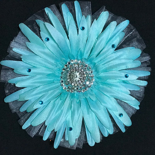 Medium Turquoise with rhinestone and petal bling