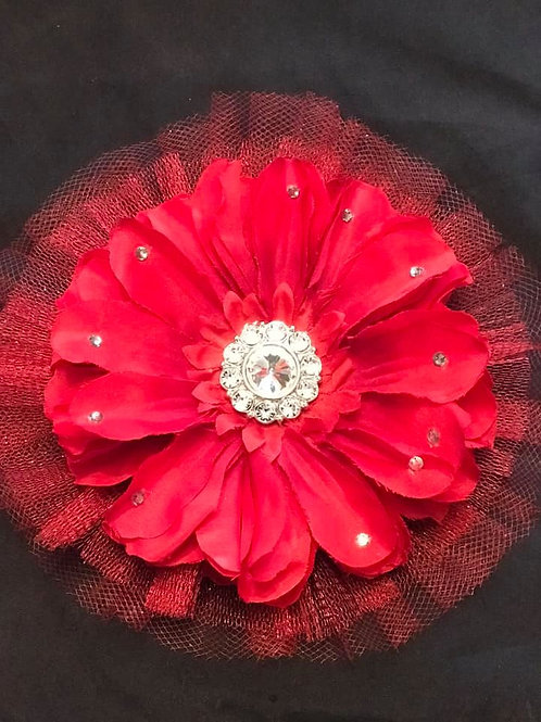 Medium red with rhinestones and petal bling