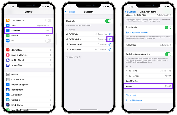 Instructions on how to check AirPods version. Already mentioned in the text above