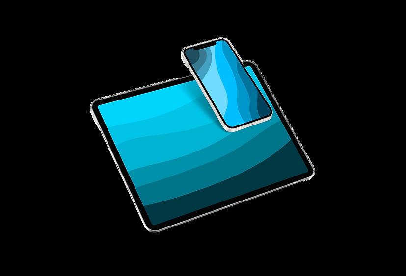 free floating iPad Pro with iPhone 12 mo