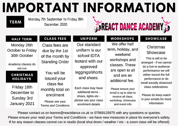 ImportantDance classes in kenton for children in ballet, tap, theatre, jazz, freestyle, acro, commercial, contemporary IDTA training Information Autumn Term 2020 p