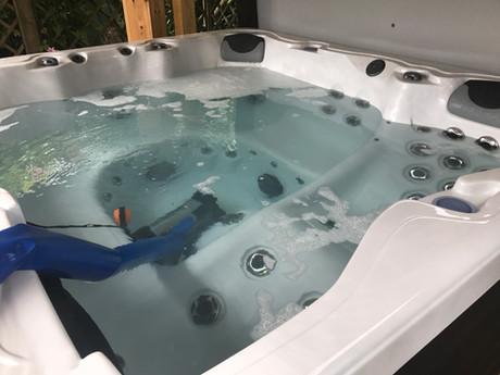 During Clean Hot Tub