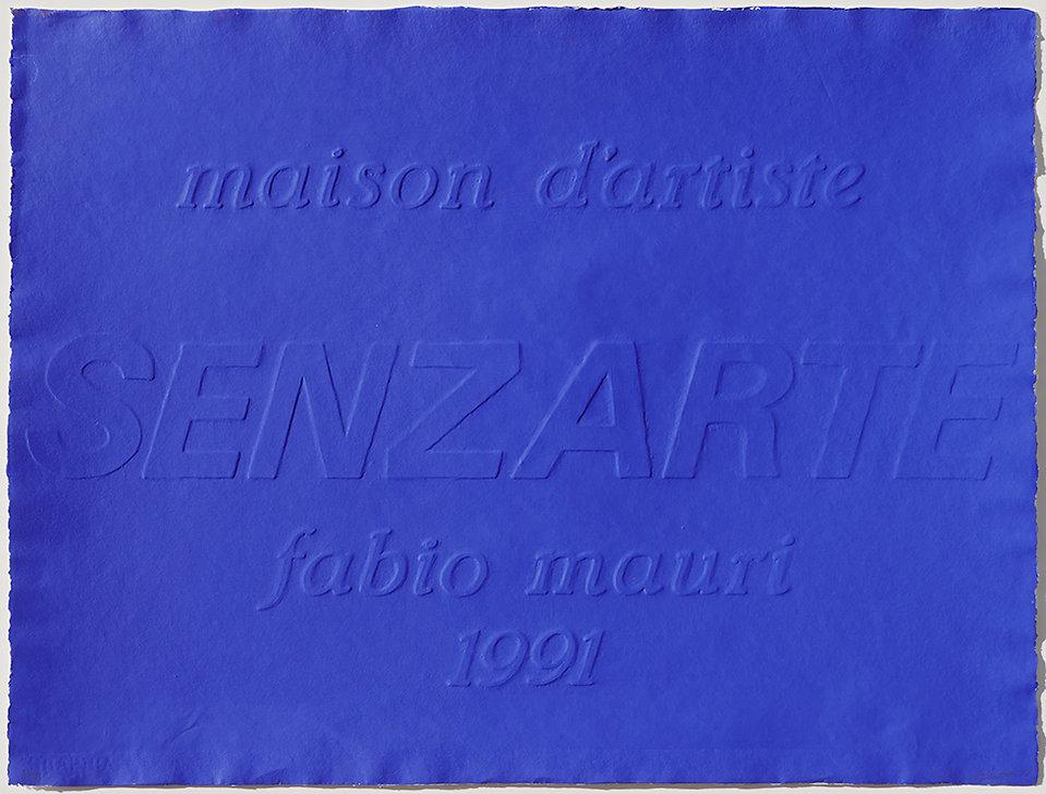 MAURI V, frontespizio, Maison d'Artiste, 1991, rilievo e serigrafia su carta