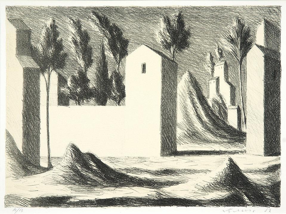 Lorenzo Bonechi, Paesaggio, litografia su pietra