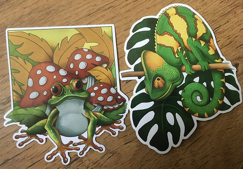 Frog and Chameleon Sticker Twin Pack