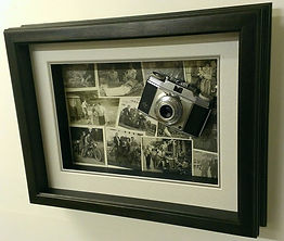 A 1950's camera framed in a hand finished bespoke frame by madboxes picture framing high wycombe buckinghamshire