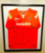 A hand signed football shirt stretched and sewn by madboxes picture framing high wycombe buckinghamshire