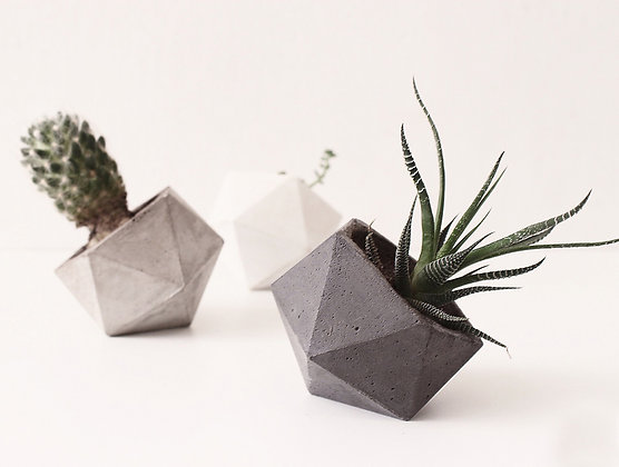 vaso de concreto geométrico estúdio plume decoração minimalista moderna industrial escandinava