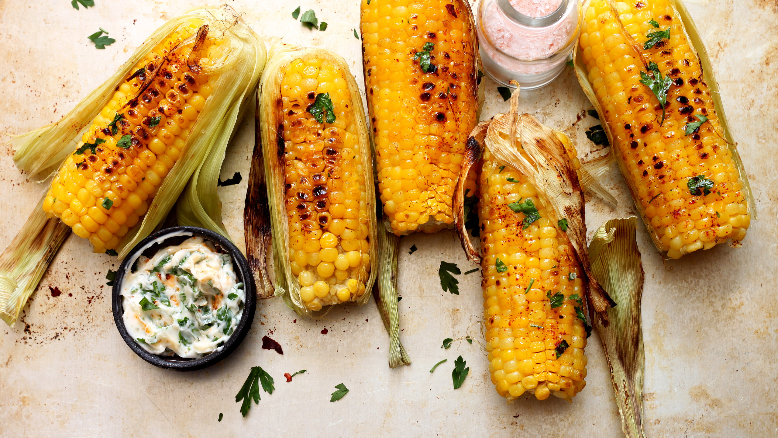 Grilled sweet corn with smoked paprika,