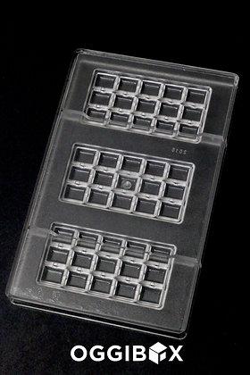 Oggibox Polycarbonate 15-Square Bar Candy Mold 3-Bars Per Tray