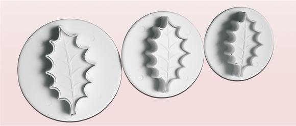 3-PC Mistletoe Leaf Plastic Cutter [large]