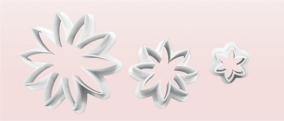 3-PC 8-PT Flower Plastic Cutter
