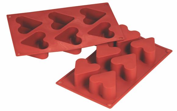 6-Cavity Heart Silicone Mold
