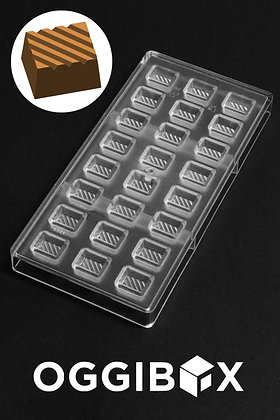 Oggibox Clear Grilled Sqaure Polycarbonate chocolate and candy mold 24-Pc tray