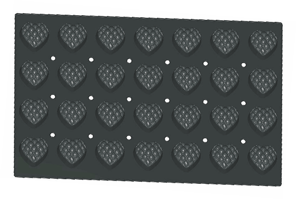 28-Cavity Heart Silicone Mold