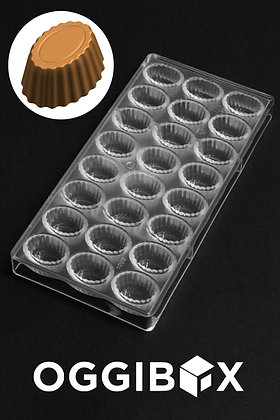 Oggibox Polycarbonate Chocolate and Candy Mold Fluted Tapered Oval, 24 -Piece Tr