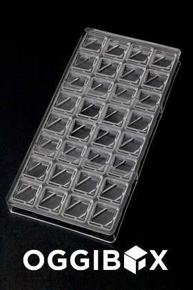 Oggibox Clear Polycarbonate contemporary Square Chocolate Mold 32- piece tray