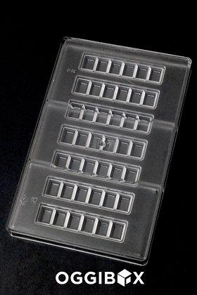 Oggibox Polycarbonate 6-Square Bar Candy Mold 7-Bars Per Tray
