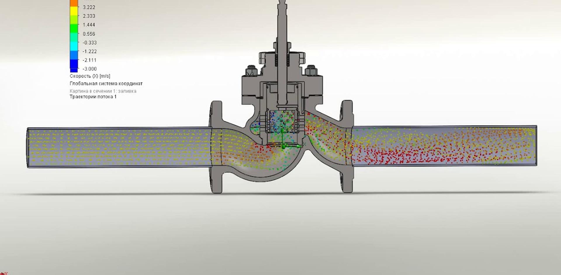 Проверка Kv регулирующего клапана c перфорированными цилиндрами