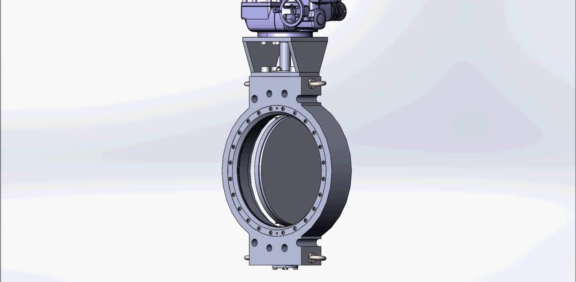 3D модель дискового затвора с AUMA