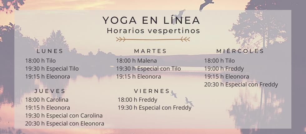 Horarios vespertinos para clases de yoga