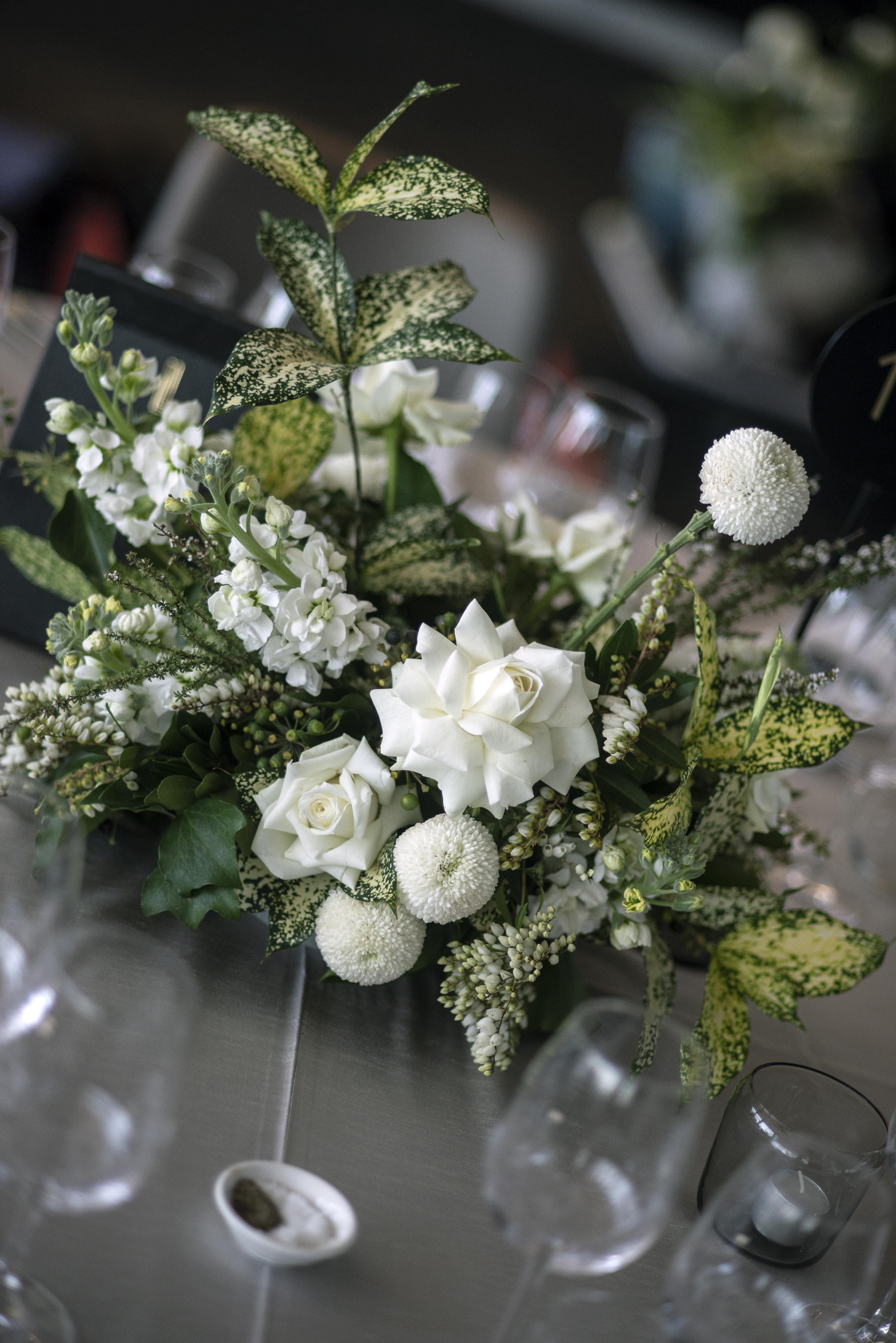 Green & white flower arrangement