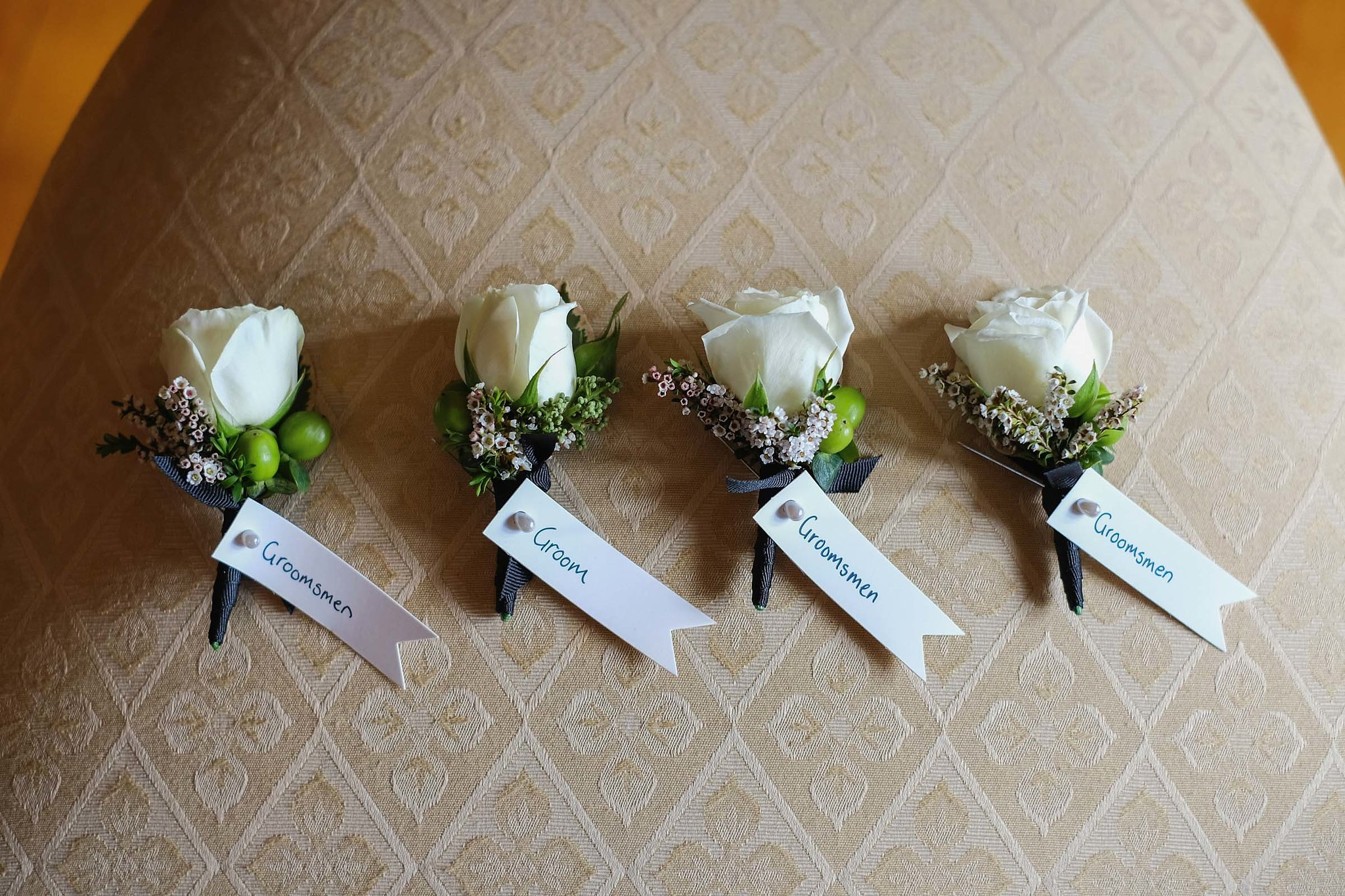 White & green wedding flowers