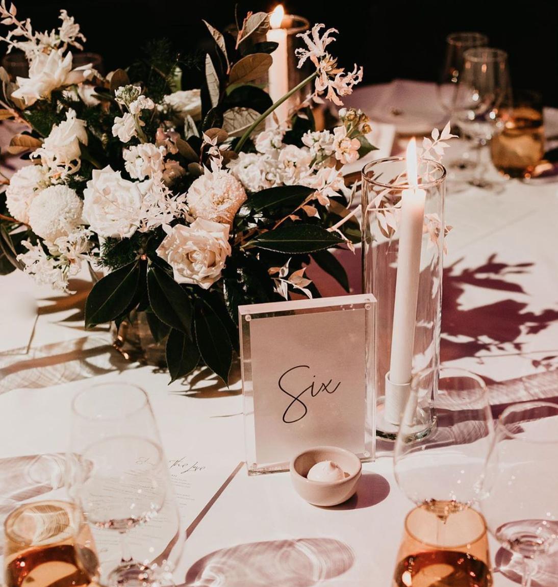 Fresh flower guest table arrangement
