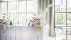 Bridal table flowers - blush & cream8505