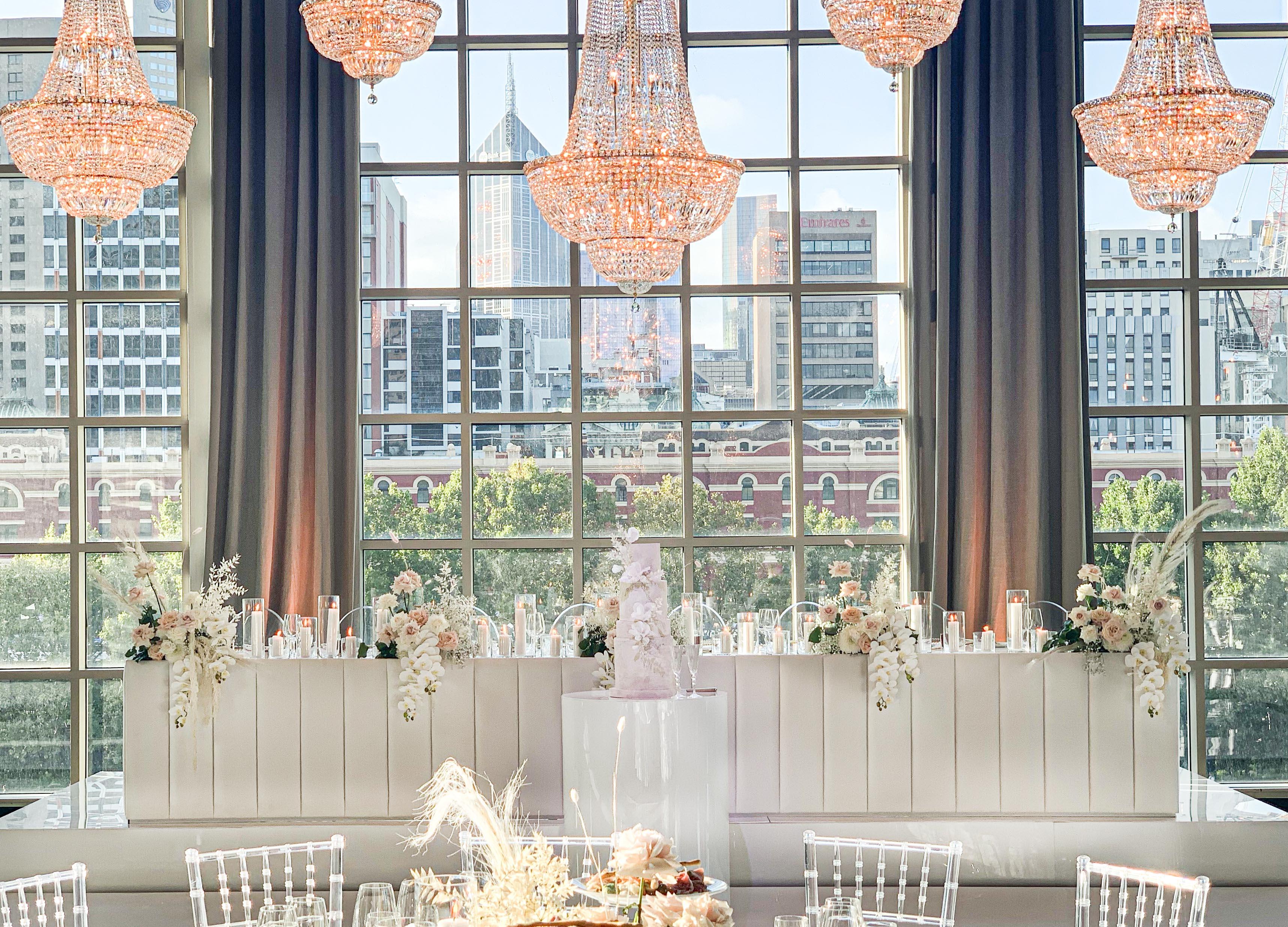 Bridal table flowers - blush & cream