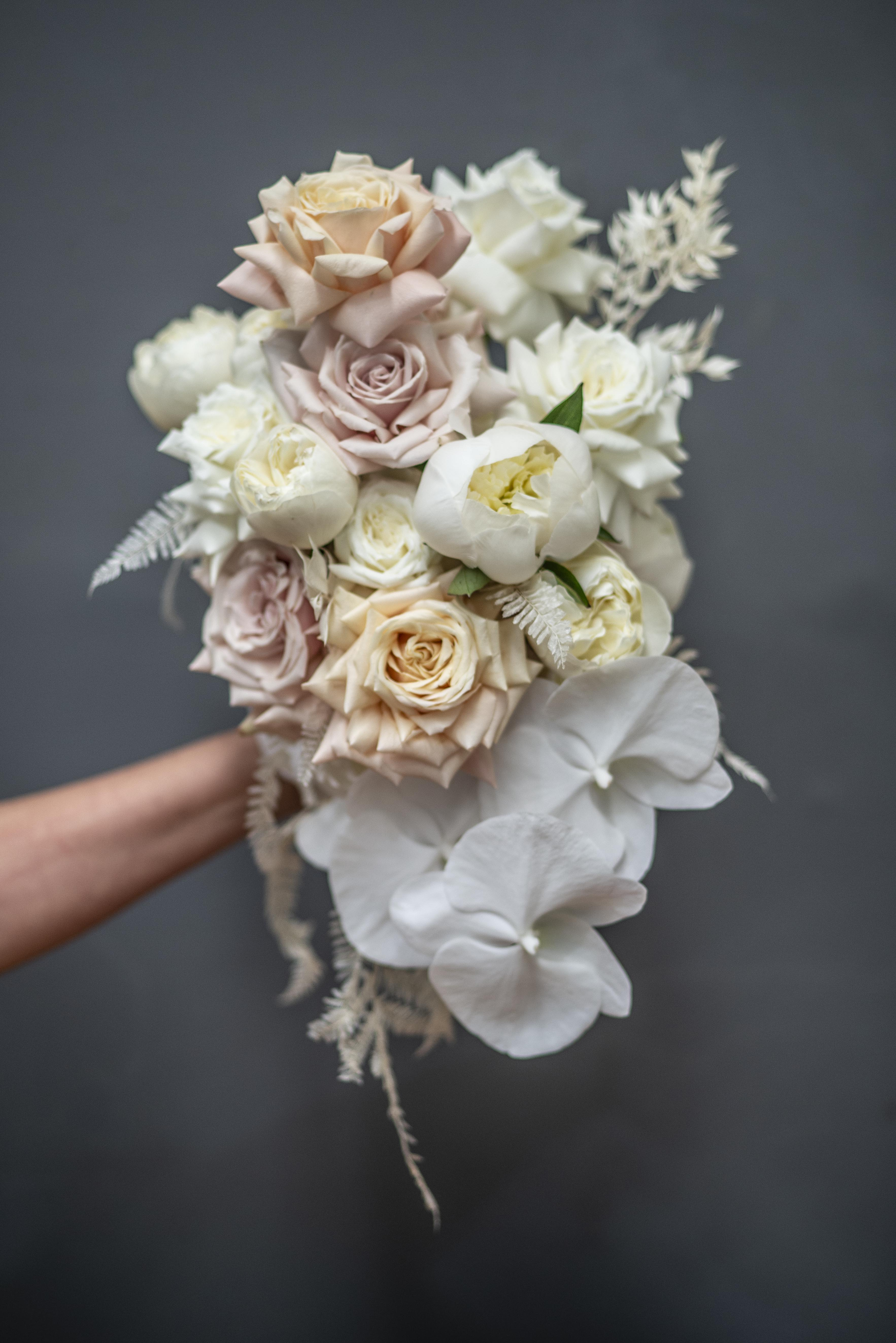Nude & cream cascading bouquet