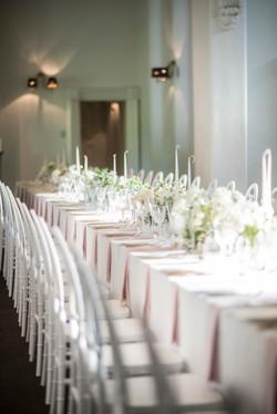 Banquet table flower arrangements