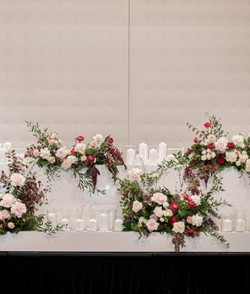 Bridal table flowers - Burgundy, green, pink and white
